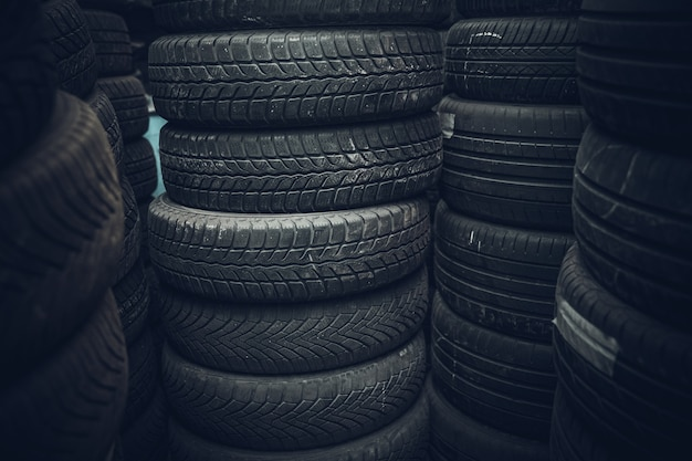 Tires for cars in the warehouse.