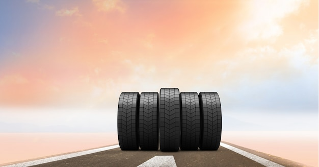 Tires on the road at sunset