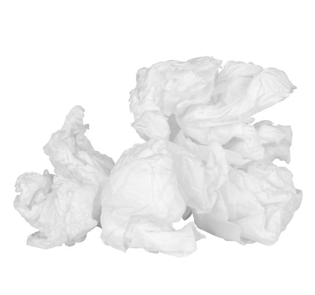 티슈 페이퍼 공 흰색 배경에 고립입니다.