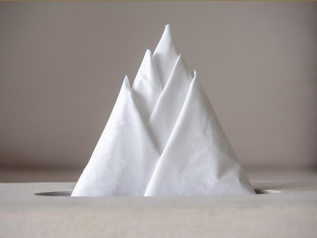 ティッシュペーパーの山の形。