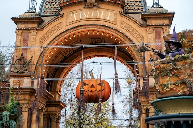 Tivoli park with decorations for the holiday halloween