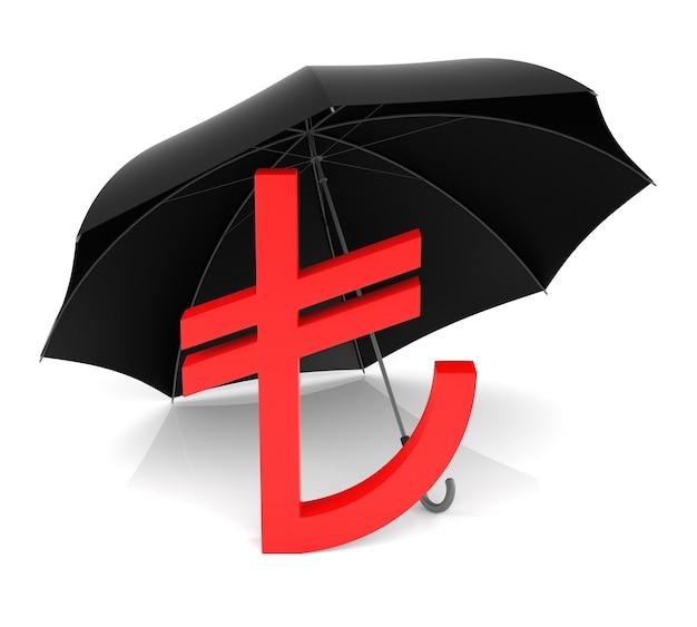 Символ tl с красным зонтиком, изолированные на белом фоне
