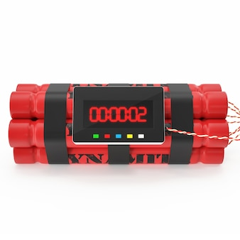 Tnt dynamite red bomb with a timer isolated