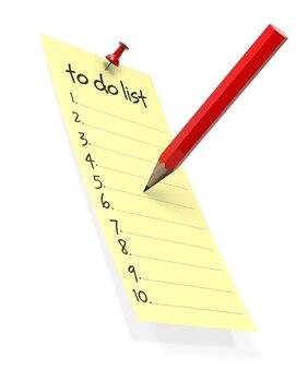 빨간 연필로 노란 스티커 메모를 할 일 목록.