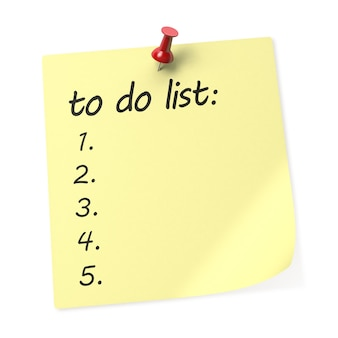 할 일 목록 노란색 스티커 메모에 빨간색 푸시 핀이 있습니다. 3d 렌더링.