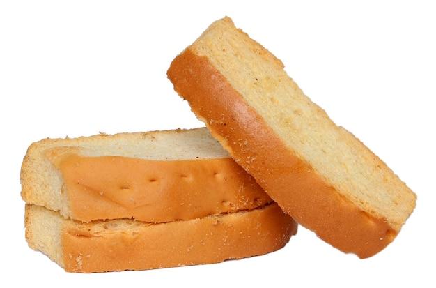 白い背景で隔離のトーストビスケット