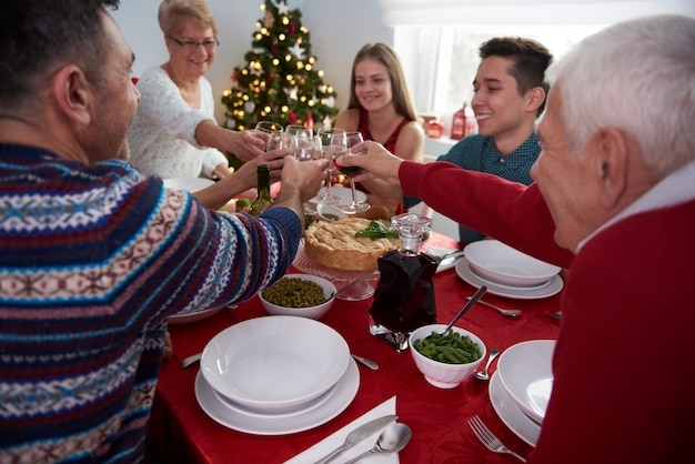 Toast for family time in christmas