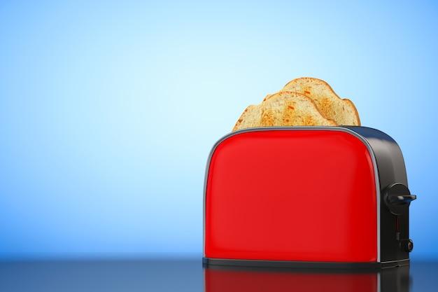 파란색 배경에 빈티지 레드 토스터에서 토스트가 터집니다. 3d 렌더링