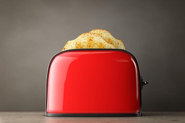 나무 테이블에 있는 빈티지 레드 토스터에서 토스트가 튀어 나옵니다. 3d 렌더링