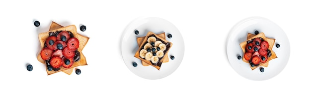 Toast with chocolate and berries isolated.
