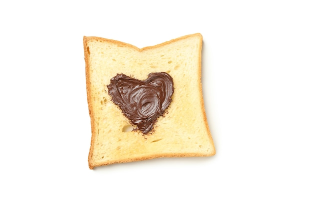 Toast with chocolate in heart shape isolated on white