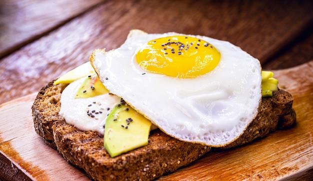 卵とアボカドのトースト、簡単な朝食