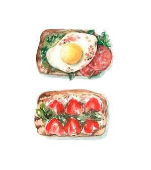 Toast with egg and tomatoes, toast with strawberries and cheese.