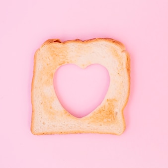 Toast with heart shape cut out