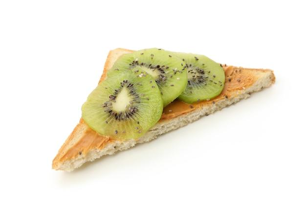 Toast with kiwi isolated on white background Premium Photo