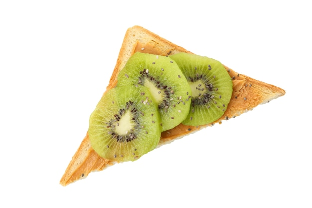 Toast with kiwi isolated on white