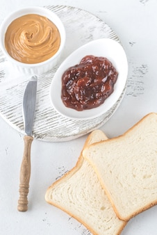 Toast with peanut butter and strawberry jam