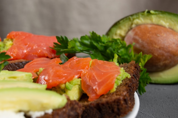 Toast with red fish trout and mashed avocado with parsley and sliced avocado