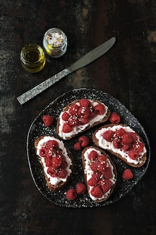 Toast with shrimp paste and raspberries