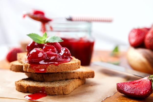 Toast with strawberry jam