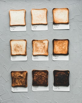 Toasted bread showing time of making