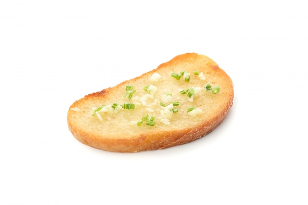 Toasted bread with garlic isolated on white