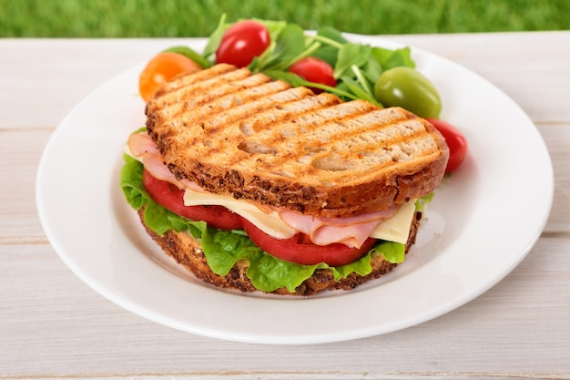 Toasted ham and cheese sandwich on wooden table
