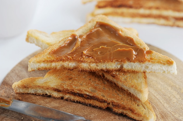 Toasted toast with boiled condensed milk, jam