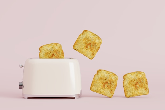 Toaster with bread on pink pastel background.