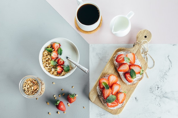 Toasts with cottage cheese and strawberry