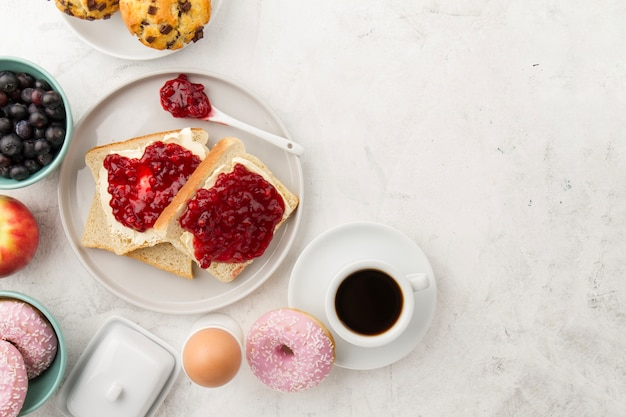 Toasts with jam and coffee