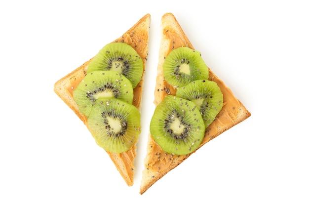 Toasts with kiwi isolated on white background