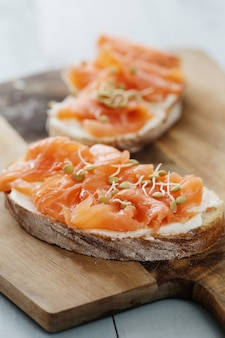 Toasts with salmon