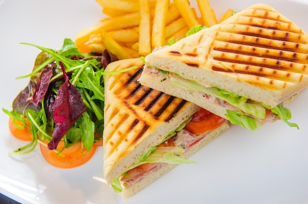 Toasts with tuna served with french fries and salad