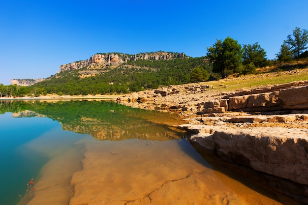 Toba reservoir in serrania de cuenca in summer