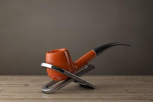 Трубка для табака с подставкой на деревянном столе. 3d рендеринг