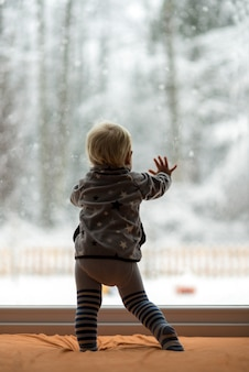 Toddler boy standing up against a window looking out
