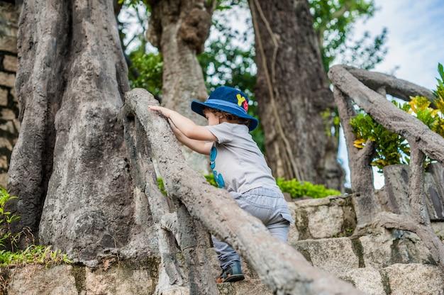 Toddler boy tourist in vietnam. po nagar cham tovers.