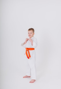 Toddler a boy in a white kimono with an orange belt stands in a pose on a white wall