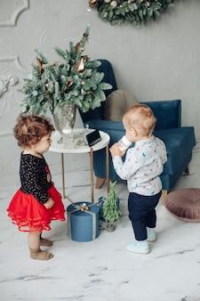 Ragazza del bambino e ragazzo con una bottiglia in piedi da tavolo elegante con vaso di rami di abete.