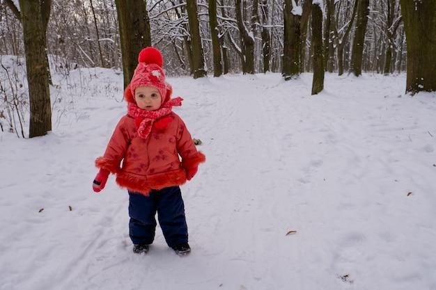 公園で雪のそばを歩いている幼児の女の子。霜の降る冬の季節。