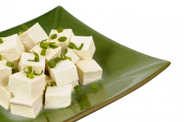 Tofu cubes with spring onion