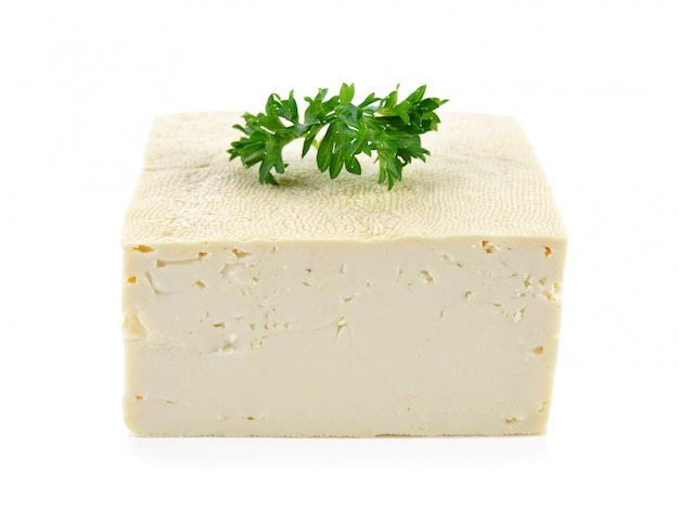 Tofu isolated on white