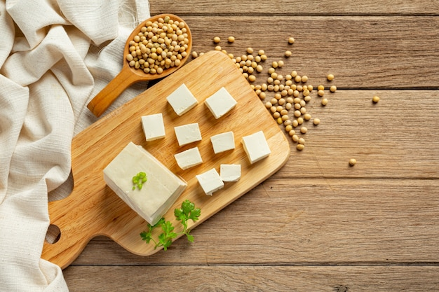 Tofu made from soybeans food nutrition concept.