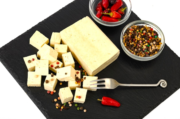 Tofu - soy milk protein product. .
