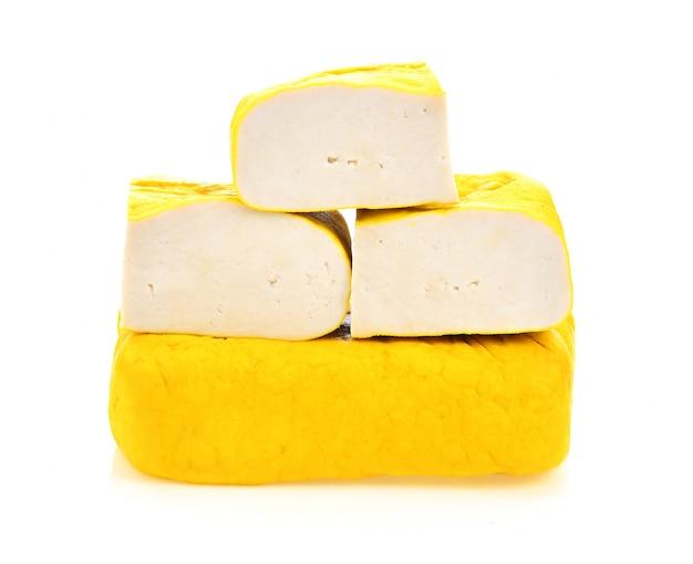 Tofu on white surface