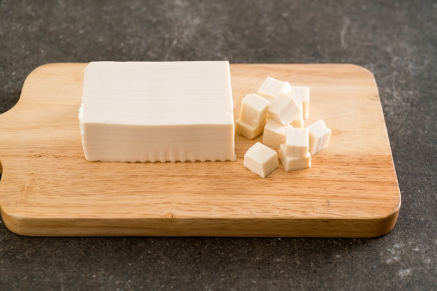 Tofu on wooden board