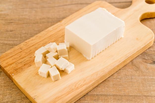 Tofu on wooden board