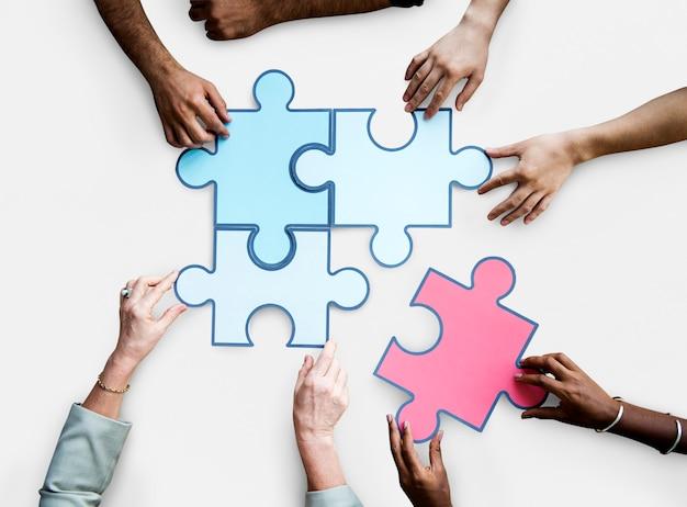 団結接続チームワークジグソーパズルゲーム