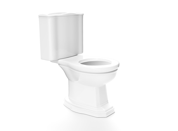 Toilet 3d render wc on white background